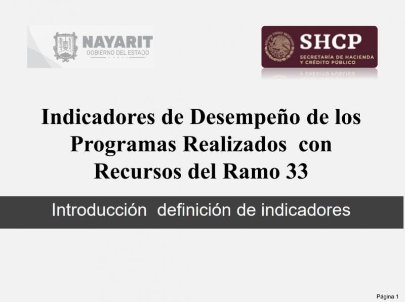 Indicadores de Desempeño de los Programas Realizados con Recursos del Ramo 33